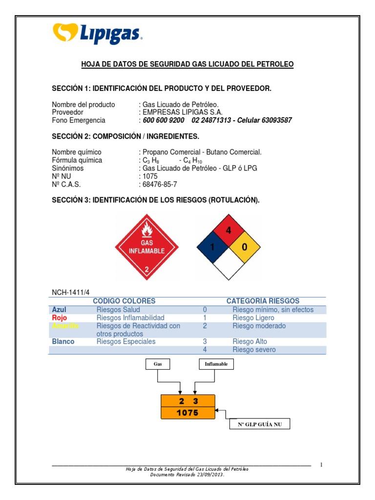 Hoja de seguridad gas licuado lipigas for Estanques de gas licuado