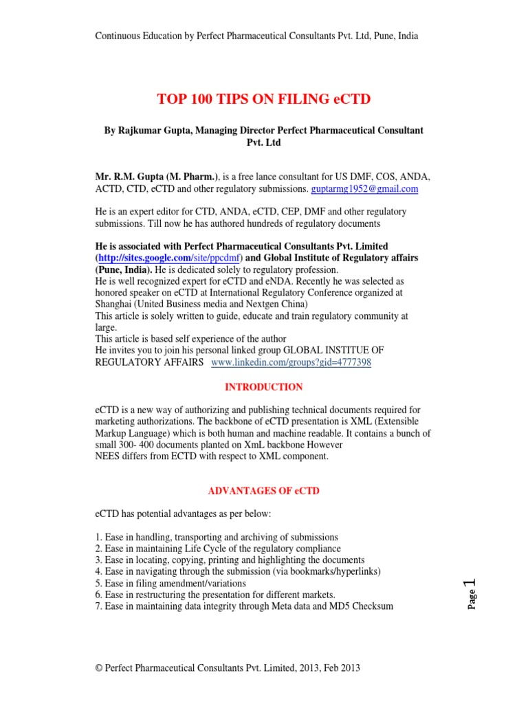 Top 100 Tips on Filing Ectd | Hyperlink | Portable Document Format