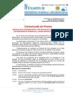 Comunicado de Prensa Semana de La Antartida - Uruguay 2014