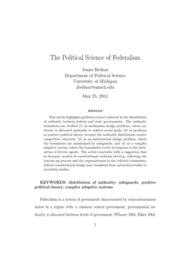 scholarly research article about federalism federalism