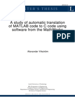 Matlab Code to C