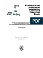 Evaluation and Definition of Potentially Hazardous Foods