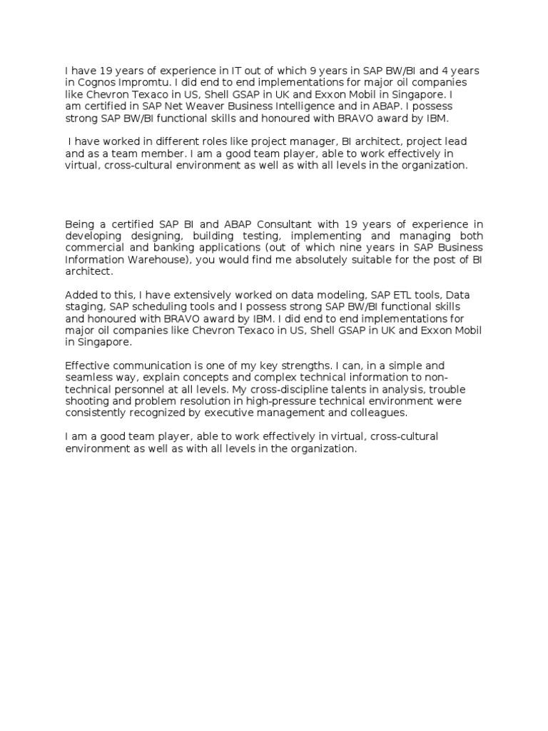 Cover Letter For Business Intelligence