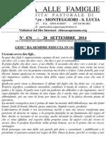 Lettera alle Famiglie - 28 settembre 2014