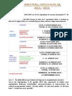 Calendar Scolar Structura Anului 2014 2015