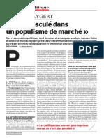 """""""On a basculé dans un populisme de marché"""""""