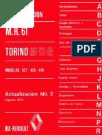 Manual de reparación M.R. 61 Torino GS-TS-SE modelos 627 - 626 - 619 actualización N°2 Agosto 1974.pdf