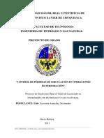 """proyecto de grado """"Control de Perdidas de Circulación en Operaciones de Perforación"""""""