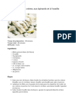 Poisson Blanc à La Crème, Aux Épinards Et à l'Oseille