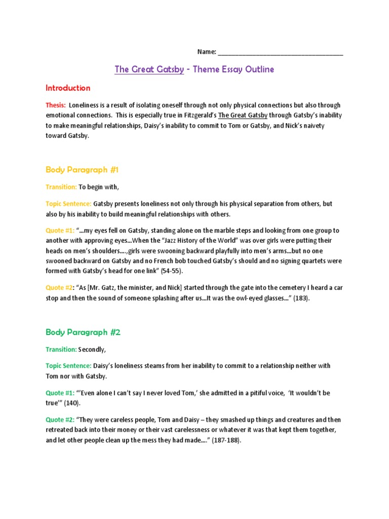 Business Plan Writers Tampa  Environmental Science Essay also Apa Sample Essay Paper Gatsby Essay Outline Example  The Great Gatsby An Essay On Science