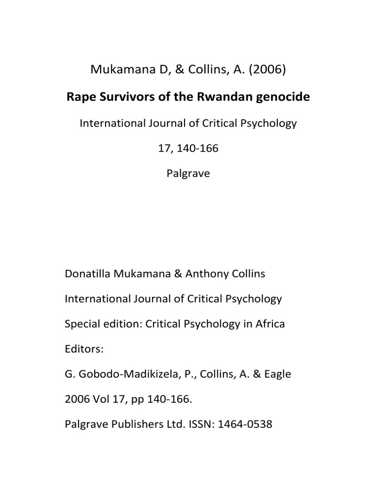 Mukamana Collins Rape Survivors Rwanda Genocide Libre