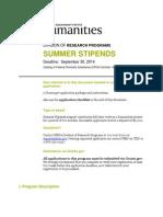 Summer Stipends Sep 30 2014