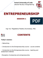 Entrepreneurship Lecture and Workshop 01