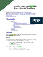 Cómo Recuperar Los Nombres de Macros de Un Libro de Excel Utilizando Visual Basic 6