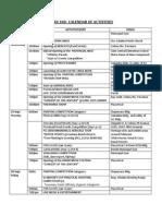 GLAN 100 Schedule of Activites