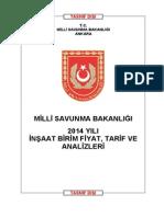 Mi̇lli̇ Savunma Bakanliği 2014 Yili i̇nşaat Bi̇ri̇m Fi̇yatlari (1)