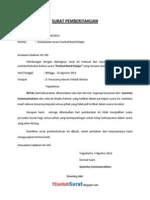 Contoh Surat Pemberitahuan Pembatalan Acara