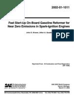Fast Start-Up on-Board Gasoline Reformer 2002