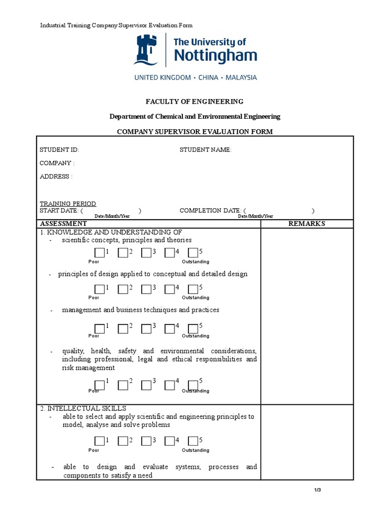 IT Company Supervisor Evaluation Form (2) | Technology | Science And  Technology