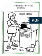 Throw Rubbish Into the Dustbin Colouring
