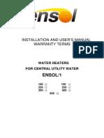 En Ensol - Installation Manual Water Heater 1 Heat Exchanger