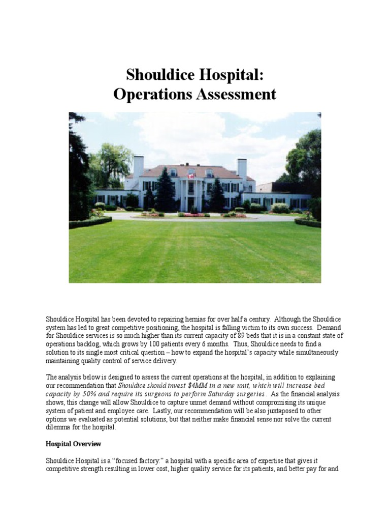 shouldice hospital case analysis Shouldice hospital limited summary/abstract: shouldice is a private hospital founded by dr earle shouldice in toronto in july 1945 the hospital started out as a six-room nursing home in.