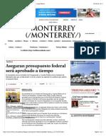 29-09-14 Aseguran presupuesto federal será aprobado a tiempo