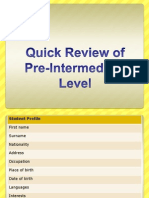 Review of Pre-Intermediate Level