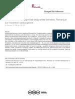 Didi-Huberman, G., Pour Une Anthropologie Des Singularités Formelles. Remarque Sur l'Invention Warburgienne