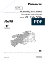 Panasonic Hpx2700 Manual
