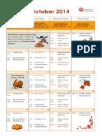October2014 Calendar