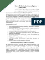 Sistemas y Clases de Mantenimiento en Equipos Industriales