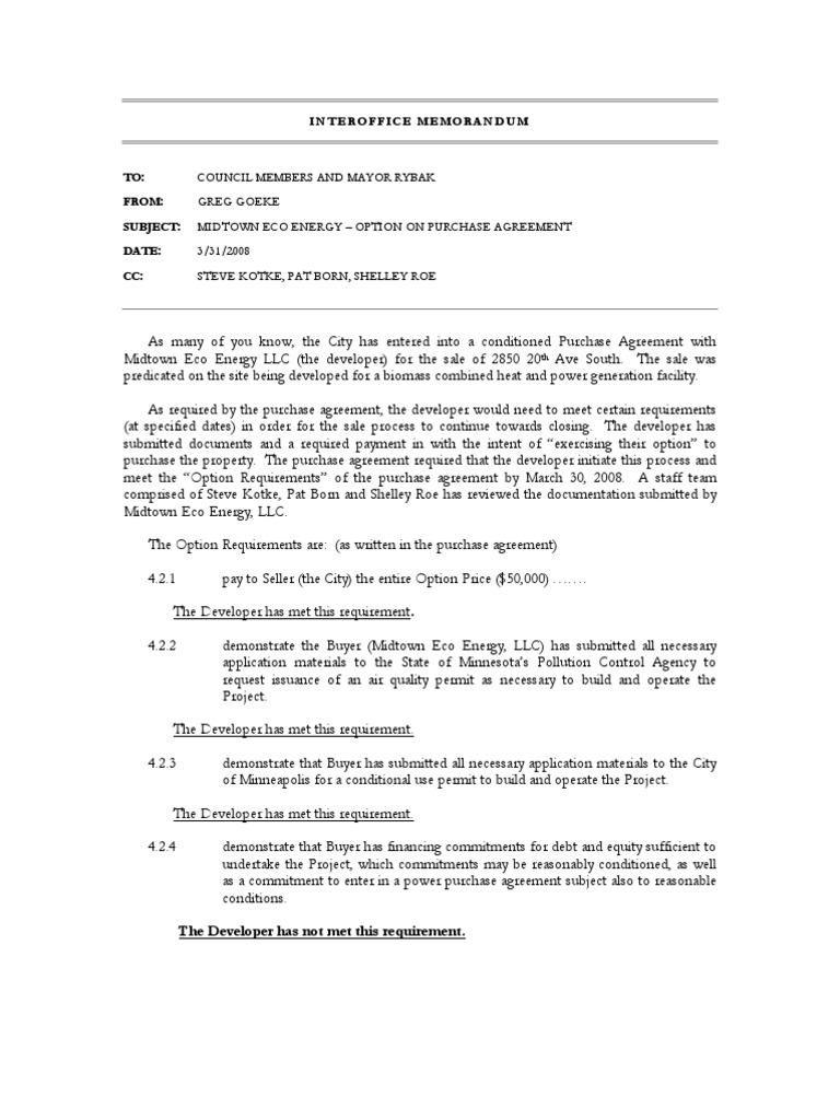 Midtown Eco Energy Option On Purchase Agreement Option Finance