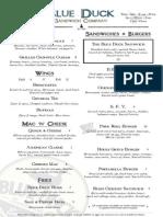 Blue Duck Sandwich Co. menu