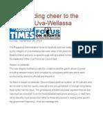 A Resounding Cheer to the Voters of Uva-Wellassa