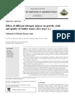 Efecto de Distintas Fuentes de Nitrogeno en El Crecimiento, Rendimiento y Calidad de Maiz Forrajero