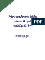 Prelazak sa analognog na digitalno emitovanje TV signala - mreža Republike Srbije