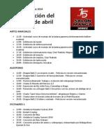 XV Salon Manga de Jerez 2014 Programacion Del Sabado 5 de Abril