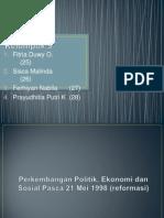 Perkembangan Politik, Ekonomi dan Sosial Pasca 21 Mei 1998 (reformasi)