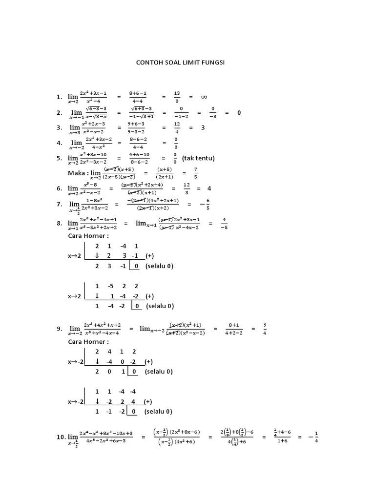 Contoh Soal Limit Fungsi Matematika Sma