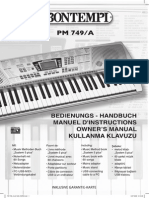 Bontempi keyboard PM 749/A users manual