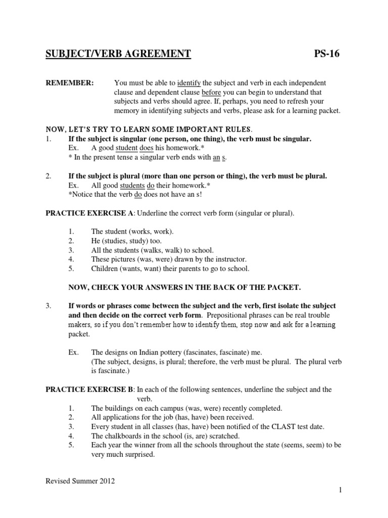 Subject Verb Agreement Subject Grammar Grammatical Number