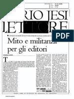Furio Jesi lettore. Mito e militanza per gli editori