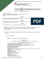Arrêté Du 25 Juin 1980 Portant Approbation Des Dispositions Générales Du Règlement de Sécurité Contre Les Risques d'Incendie Et de Panique Dans Les Établissements Recevant Du Public (ERP)