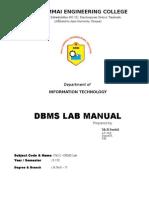 Dbms Lab Manual Regulation 2013
