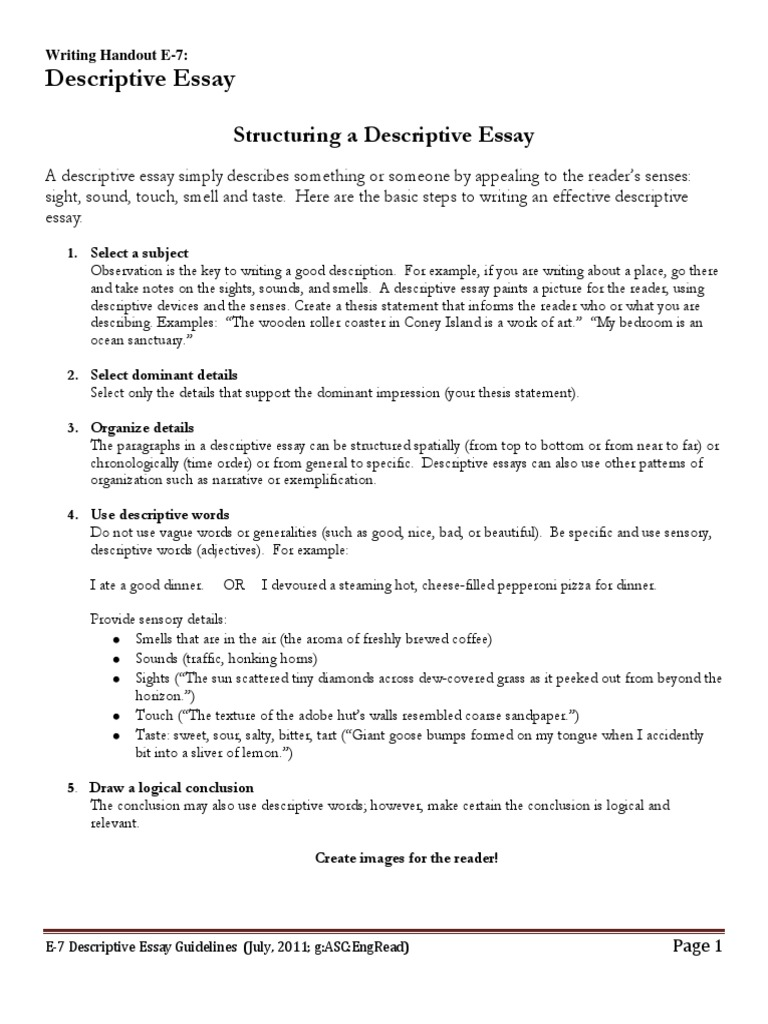 Science Topics For Essays  How To Write A Thesis Sentence For An Essay also Importance Of Good Health Essay Edescriptiveessayguidelines  Taste  Essays Expository Essay Thesis Statement Examples