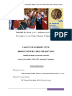 Fascicule de Droit Civil Regime General Des Obligations