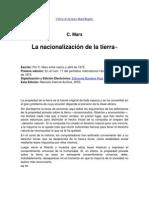 C. MARX La Nacionalizacion de La Tierra