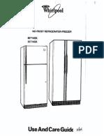 Whirlpool No-frostrefrigerator-freezers Use & Care Guide 8et14gk, 3et14gk