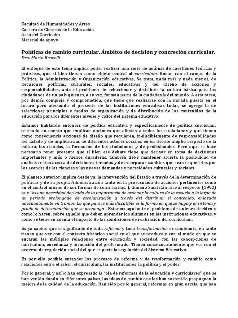 BROVELLI- Politica de Cambio Curricular. Ambitos de Concrecion y ...